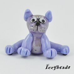 Lilac Cat  glass cat bead  lampwork cat sculpture  by IzzyBeads