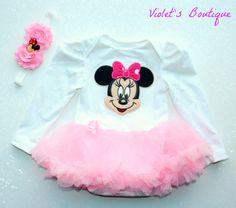 Minnie mouse tutu...baby girl tutu..baby girl onesie set..