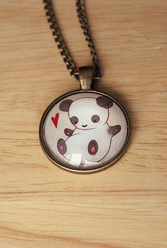 Cute Panda Necklace 25mm by TheBlackDove on Etsy