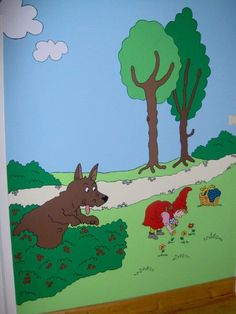 muurschildering roodkapje