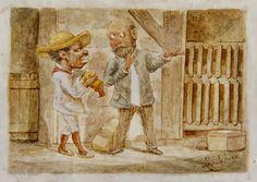 Despues de la Pelea (después de la pelea) Víctor Patricio Landaluze ca 1880 tinta y acuarela sobre papel grueso establecidas a bordo de 4 x 5 1/2 pulgadas 04548