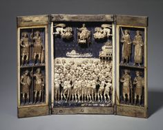 Triptych Showing the Forty Martyrs Place of creation: Byzantium Date: Late - early century Material: ivory and silver (frame) Technique: carved and painted Dimensions: cm. Constantine The Great, Byzantine Art, 11th Century, Bone Carving, Medieval Art, Romanesque, Roman Empire, Middle Ages, Painting
