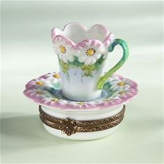 Limoges Cup and Saucer with Daisies Box The Cottage Shop
