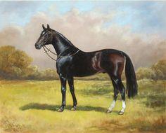 Horse Painting - Black English Horse by Irek Szelag