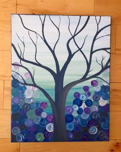 Grey turquoise purple and blue tree canvas painting NaptimeDesignsJD@gmail.com Facebook:NaptimeDesignsJD