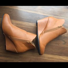 Super cute camel colored booties, size 8.5 These booties are from Catch Bliss Boutique and have only been worn once. Very cute and comfortable, fits true to size. Small scuff on the side as show (down at the bottom), not really even noticeable. Shoes Ankle Boots & Booties