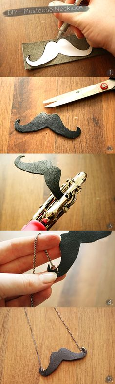 LEATHER MUSTACHE NECKLACE – DIY
