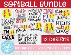 Softball SVG Cut File Bundle – Crazy Crafty Lady Co. Compatible with vinyl cutting machines such as Cricut and Silhouette Cameo! Great for DIY craft projects such as shirts, home decor items, decals, printing, and more.