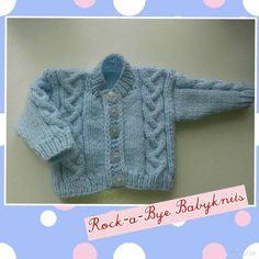 "Cable cardie-sizes to fit 12, 14, 16"" chest, so ideal for premature babies as well as newborns."