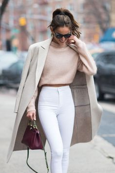 Cream ivory coat blush light pink cropped sweater white high waisted pants Cute women s fashion chic fall winter spring summer casual street style outfit inspiration ideas Outfit inspo # Fashion Mode, Look Fashion, Fashion Trends, Fashion Fall, Fashion Styles, Fashion Ideas, Feminine Fashion, Cheap Fashion, Ladies Fashion