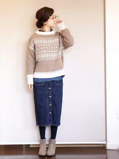 先日の仕事着です(^ ^) ジャガード柄の可愛いニットです。 隠れデニデニなりました。 ニット/ON