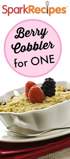 Berry Cobbler for One---This is a cake-type cobbler. You can use any fruit, fresh or frozen. My favorites are peaches, berries, and-- on the rare occasions when I can find them-- sour cherries.  via @SparkPeople