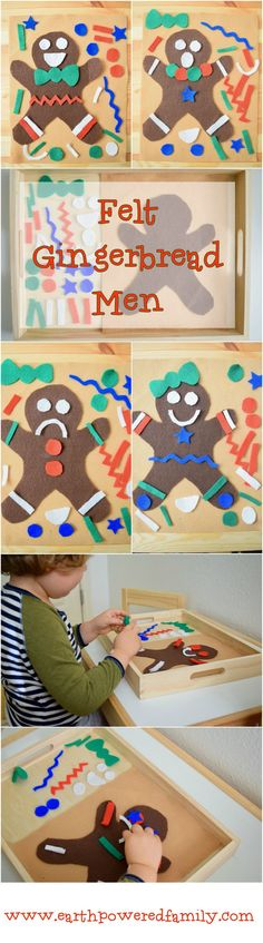 Felt Gingerbread Men. An easy DIY quiet activity for toddlers and preschoolers. Use paper for a fun art project!