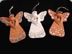 Ceramic Christmas Tree Angel Happy New Year Christmas Tree Angel, Polymer Clay Christmas, Christmas Tree Ornaments, Plaid Christmas, Ceramic Christmas Decorations, Ceramic Christmas Trees, Tree Decorations, Pottery Angels, Polymer Clay Ornaments
