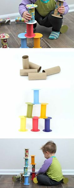 DIY Recycled Toilet Paper Roll Building Blocks - a quick easy free toy to keep you from going crazy inside this winter. Recycled toddler toys are the best! Sensory Activities, Infant Activities, Activities For Kids, Winter Activities, Toddler Fun, Toddler Toys, Diy Toys For Toddlers, Diy Toys For Babies, Baby Diy Toys