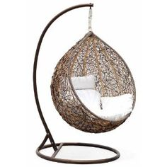 Trully Outdoor Wicker Swing Chair, The Great Hammocks contemporary outdoor chairs Want one so bad! Contemporary Outdoor Chairs, Wicker Swing, Swinging Chair, Chair Swing, Hammock Chair, Egg Chair, My New Room, Cool Furniture, Porch Furniture
