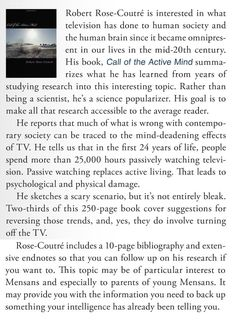 """This review of """"Call of the Active Mind"""" appeared in the September 2016 Mensa Bulletin."""