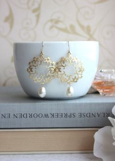 Gold Ivory Pearl Moroccan, Boho, Gypsy Filigree, Chandelier Ivory Pearl Wedding Earrings. Maid of Honor.  Bridesmaids Gifts. Bridal Jewelry....