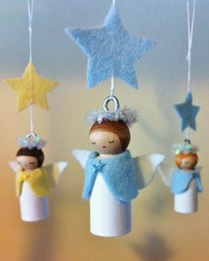 Christmas Crafts : Illustration Description Forest Fairy Crafts - Journal - Happy Holidays with Angels Christmas Crafts For Kids, Christmas Angels, Christmas Projects, Felt Crafts, Holiday Crafts, Christmas Diy, Christmas Decorations, Christmas Ornaments, Craft Decorations