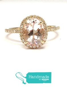Oval Morganite Engagement Ring Pave Diamond Wedding 14K Rose Gold,7x9mm, Diamond on Prong from the Lord of Gem Rings https://www.amazon.com/dp/B01GUS5IBG/ref=hnd_sw_r_pi_dp_pgeHxbN5YXHZ9 #handmadeatamazon