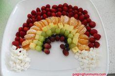 Arco iris con fruta. Combina fruta de diferentes colores para crear este divertido plato infantil