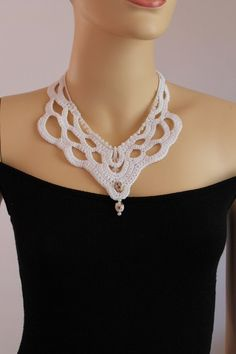 Fall Fashion White Crochet Necklace Crochet Jewelry Lace Holiday Accessories.  via Etsy.
