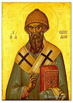 "Shepherd Spyridon of Trimyphunteia (3rd cent, Cyprus) supported the poor with all he had. God made him work wonders and he became bishop. At the First Ecumenical Council, he defeated and converted an Arian philosopher. Clasping a brick, fire shot upwards, water downwards, and clay remained in his hands - ""3 elements make 1 like the Holy Trinity,"" S said. When S performed Liturgy in an empty church, angelic voices were heard singing along. Likened to Abraham and Elijah, S is celebrated Dec…"