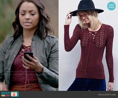 Bonnie's lace up sweater on The Vampire Diaries.  Outfit Details: https://wornontv.net/57991/ #TheVampireDiaries