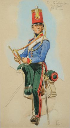 SOLDIERS- Rousselot: NAP- France: French Imperial Guard; 2nd Eclaireur Regiment, Trumpeter, by Lucien Rousselot.