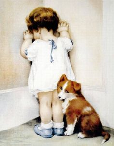 ♥MY JEWELS♥ — Cute Child & Collie Dog in Disgrace by Betsy Pease...