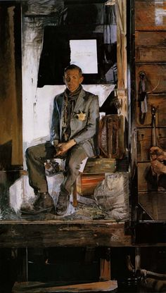 'Terminal' by Jerome Witkin (American b.1939) 123 x 70 oil on canvas....the yellow star on his jacket is the key to this painting....