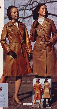 Wards 1974 winter coats | jsbuttons | Flickr 1970s Clothing, Long Leather Coat, Vintage Wardrobe, European Fashion, Vintage Leather, Winter Coats, Vintage Fashion, How To Wear, Outfits