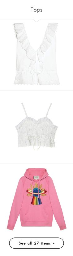 """Tops"" by babyrollingstone ❤ liked on Polyvore featuring tops, my clothes, white, white frill top, scallop edge top, drawstring top, ruffle top, frilly tops, shirts and crop top"