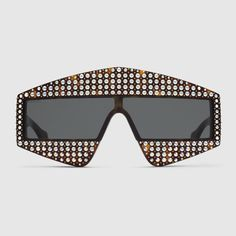 Rectangular-frame acetate sunglasses with crystals - Gucci Women's Sunglasses 519975J00702300