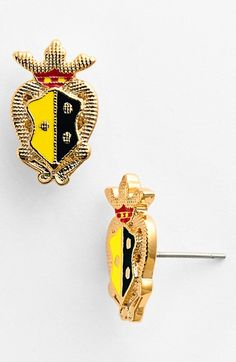 Love the preppy colors on this gold family crest Tory Burch earring.