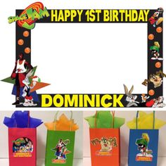 Baby first birthday favors photo booths 57 ideas First Birthday Favors, 1st Birthday Party Themes, Second Birthday Ideas, Baby First Birthday, Space Jam Theme, Looney Tunes Party, Aaliyah Birthday, Vinyl Gifts, Happy 1st Birthdays