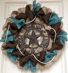 Rustic burlap Texas star Welcome wreath by OnMyFrontDoor on Etsy https://www.etsy.com/listing/219486895/rustic-burlap-texas-star-welcome-wreath