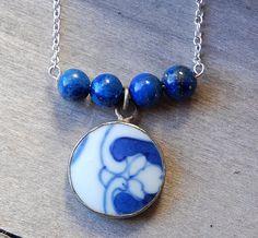 Blue  Necklace  Lapis porcelain Royal Blue by LaughingDogStudio, $32.00