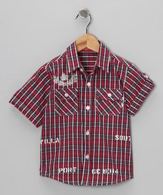 Take a look at this Red Plaid Button-Up Shirt - Toddler & Boys by Red Turtle & Mikko Kids on #zulily today!