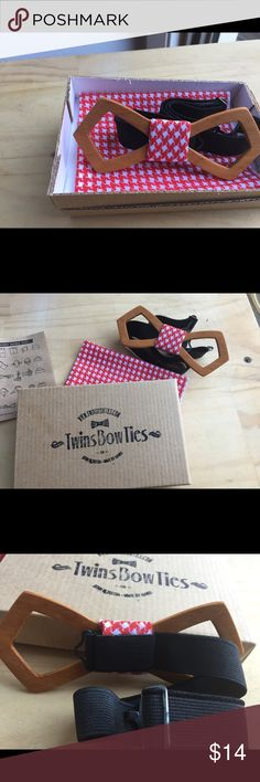 Twins BowTies Handmade bow ties . Never been worn. Looks great on a Gentleman and Gentlewoman. Made of sturdy wood ,red/White material with a black adjustable band, and red/white pocket square. This is a holiday sale item,no offers and no trades. twins bow ties Accessories Ties