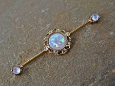 Gold Glitter Opal Industrial Barbell Scaffold Piercing 14ga Body Jewelry Piercing Jewelry