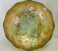 Lot # : 32 - Stag & Holly lg size IC shaped ftd bowl - aqua $150