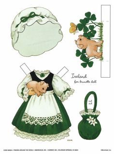 """""""friends around the world"""" paper doll outfit for brunette doll ~ by ruth moorehead"""