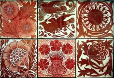 Arts & Crafts, Art Nouveau, and Art Deco red and crimson tiles with white background. Arts And Crafts Movement, Tile Art, Mosaic Tiles, Tiling, Tile Patterns, Textures Patterns, William Morris Art, Bijoux Art Nouveau, Art Nouveau Tiles