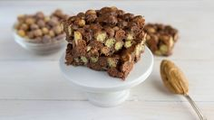 Reese's Puffs add a double dose of peanut butter and chocolate to this easy microwave version of no-bake cereal bars.