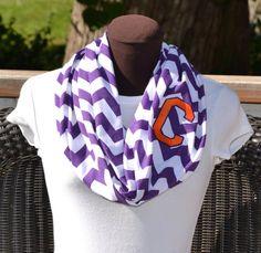Monogrammed Chevron Infinity Scarf Purple and White Chevron on Etsy, $25.00