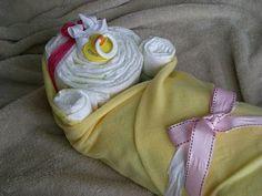 A diaper baby tutorial - alternative for a diaper cake at a shower