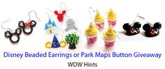 WDW Hints Disney Beaded Earrings or Park Maps Button Review and Giveaway - WDW Hints