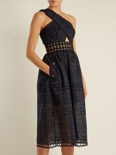696a6dc8dec6 Self-portrait One-shoulder guipure-lace midi dress Lace Midi Dress, Wedding
