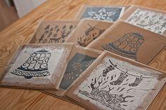 Set of hand made linocut chrismas cards